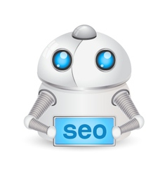 Robot with SEO sign Technology concept vector image vector image