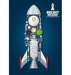 Rocket with detailed engine parts body structure vector image vector image