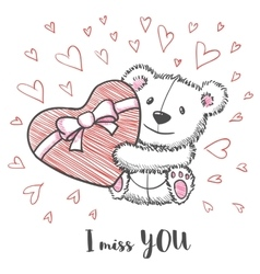 Romantic card with hand drawn cute bear vector