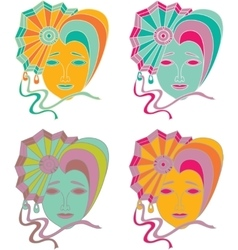 set of carnival mask on a white background vector image