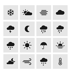 Set of weather forcast flat icons on square vector