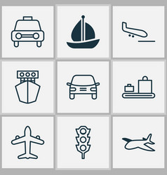 Shipping icons set collection of taxi stoplight vector