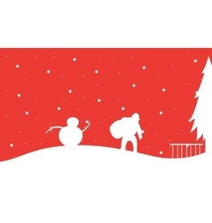 Silhouette of santa with snowman christmas vector