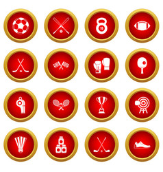 Sport equipment icon red circle set vector