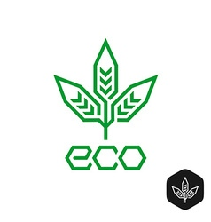 Three leaves natural eco logo technical science vector