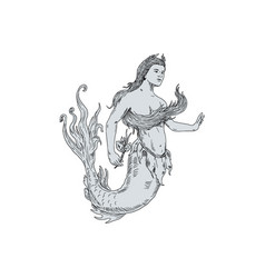 Vintage mermaid holding flower drawing vector