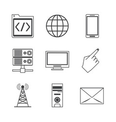 White background with monochrome icons of network vector