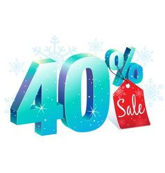 Winter sale 40 percent off vector