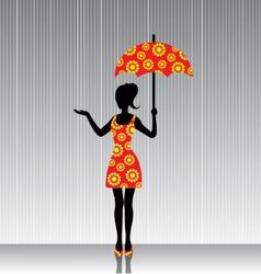 woman with an umbrella in a bright dress vector image vector image