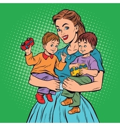 Young retro mom with two children boys vector image