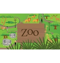 zoo animals map sign board wood nature vector image vector image