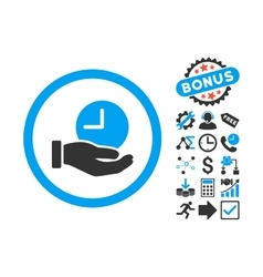 Time service flat icon with bonus vector