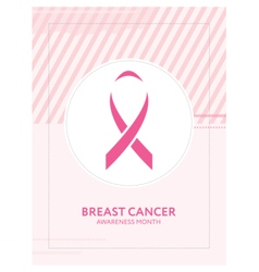Breast cancer awareness card pink ribbon campaign vector