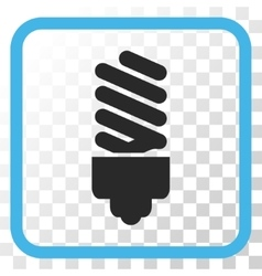 Fluorescent bulb icon in a frame vector