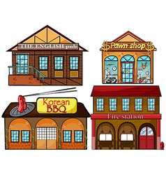 English pub Korean restaurant pawnshop and fire vector image