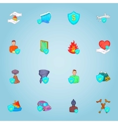 Accident icons set cartoon style vector