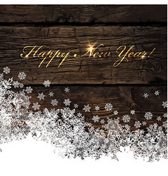 Happy new year golden greeting on wooden vector