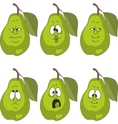 Emotion green pear set vector