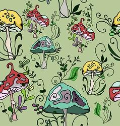 seamless pattern of fantasy mushrooms vector image