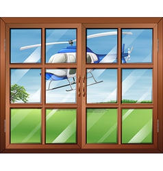 A closed window with a helicopter outside vector
