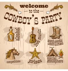 Cowboy party set vector image