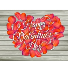 Heart from flowers on wooden table eps 10 vector