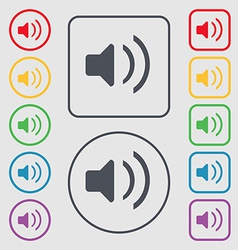 Speaker volume sound icon sign symbol on the round vector
