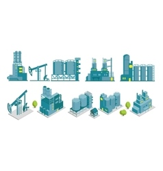 Set of isometric end 2d factory oil vector