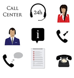 Call centre icon set vector