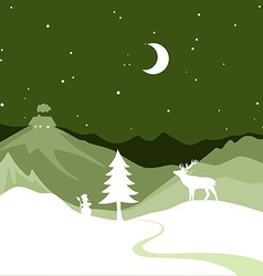 Christmas design - snowy path leads to a christmas vector