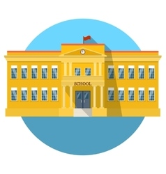 School building flat icon with long shadow vector