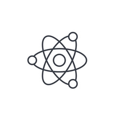 Atom physic symbol thin line icon linear vector