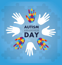 Autism awareness concept with hand of puzzle vector