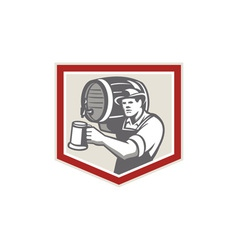 Barman Lifting Barrel Pouring Beer Mug Retro vector image vector image