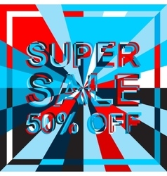 Big ice sale poster with super sale 50 percent off vector