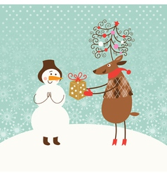 Christmas card with cute snowman and deer vector image