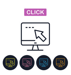 click icon computer and mouse cursor vector image