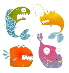 Colorful Fish Characters Cartoon Collection vector image vector image