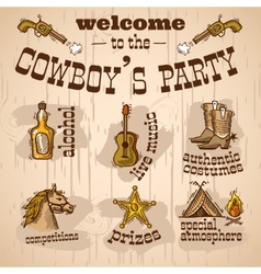Cowboy party set vector