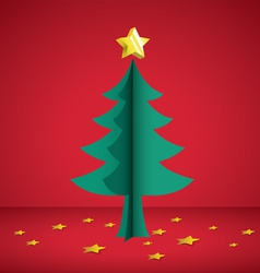 Cristmas tree paper cutting vector image