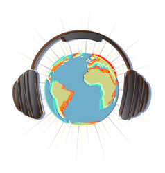 earth with headphones vector image