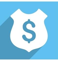 Financial shield long shadow square icon vector