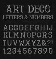 Font in art deco style vintage alphabet white vector