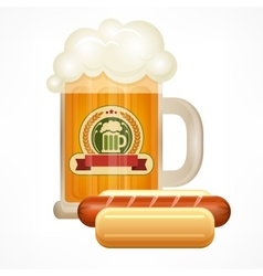 Glass mug of beer sausage vector image