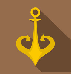Gold anchor icon flat style vector
