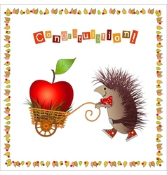 Greeting card joyful hedgehog vector image vector image