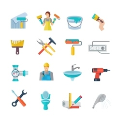 Home Repair Icons Flat Set vector image