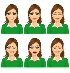 isolated set of female avatar expressions vector image vector image