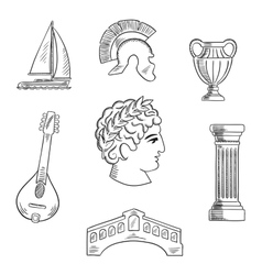 Italian culture history and travel icons vector