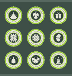 label with christmas symbols set vector image